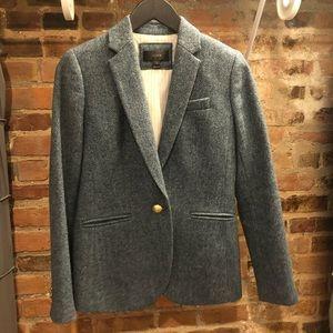 J. Crew blue herringbone tweed blazer